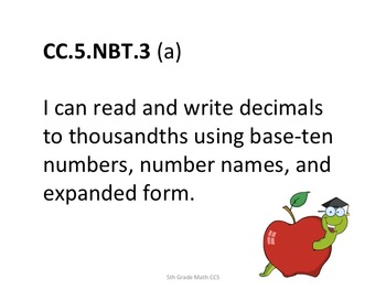 5th Grade CCS Math for Posting Generic Nomenclature- Student Friendly