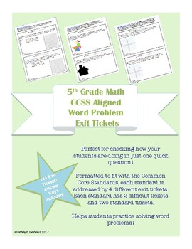 5th Grade CCSS Aligned Story Problem Exit Tickets- All Standards!