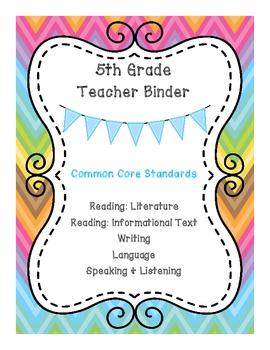 5th Grade ELA CCSS Binder Covers