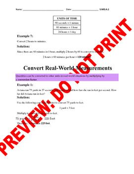 5th Grade CCSS Conversion Assessment Bank (5.MD.A.1)