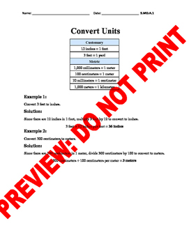 5th Grade CCSS Conversion Assessment Bank (5.MD.A.1)