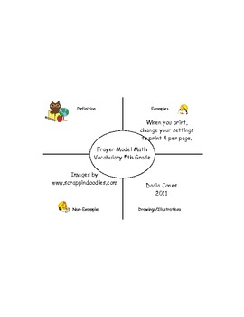 5th Grade CCSS Frayer Model Math Vocabulary
