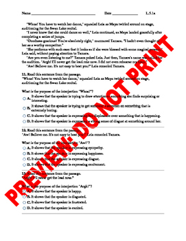 5th Grade CCSS Interjections Assessment L.5.1a