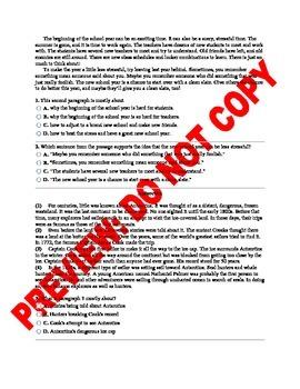 5th Grade CCSS Main Idea Assessment