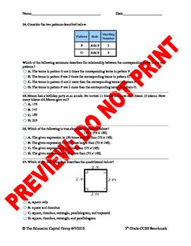5th Grade CCSS Math Benchmark Assessment