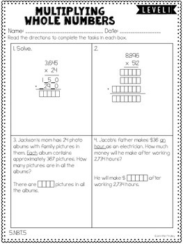 Number & Operations: Base Ten: 5th Grade CCSS Math Differentiated Skill Sheets