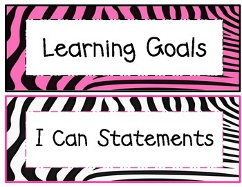 5th Grade Common Core Math and ELA I Can Statements Hot Pink Zebra Theme
