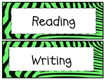 5th Grade Common Core Math and ELA I Can Statements Lime Green Zebra Theme