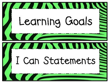 5th Grade Common Core Math and ELA I Can Statements Lime G