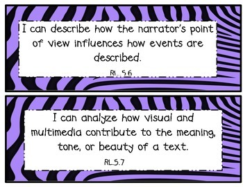 5th Grade Common Core Math and ELA I Can Statements Purple Zebra Theme