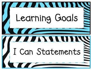 5th Grade Common Core Math and ELA I Can Statements Rainbow Zebra Theme