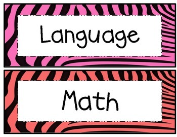 5th Grade Common Core Math and ELA I Can Statements Rainbow Zebra Theme