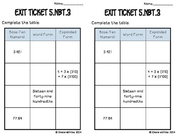 Decimals Math Tasks and Exit Tickets
