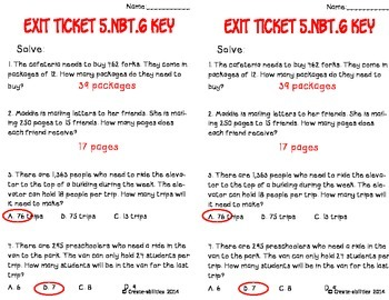 Division Math Tasks and Exit Tickets