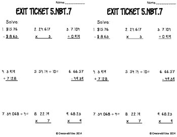 Adding and Subtracting Decimals Math Tasks and Exit Tickets