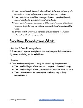 5th Grade CCSS Friendly Standards