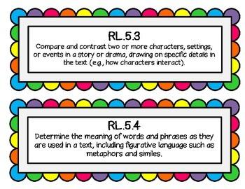 5th Grade CCSS Rainbow Cards