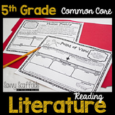 5th Grade Reading Literature Graphic Organizers for Common Core