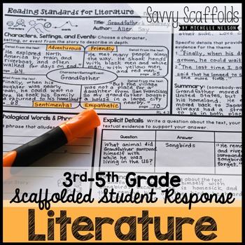 3rd 4th 5th Grade Reading Literature Student Response for Common Core