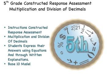 5th Grade CRA: Multiplication and Division of Decimals