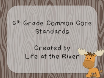 5th Grade Camping Theme Common Core I Can Statements