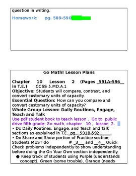 5th Grade Chapter 10 Go Math Lesson Plans