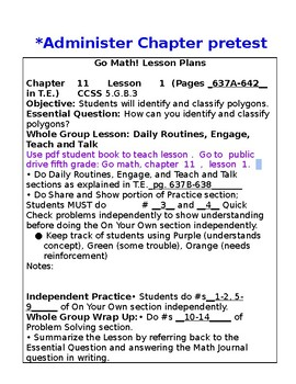 5th Grade Chapter 11 Go Math Lesson Plans