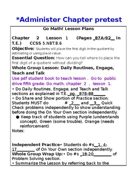 5th Grade Chapter 2 Go Math Lesson Plans