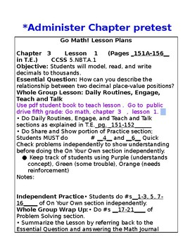 5th Grade Chapter 3 Go Math Lesson Plans