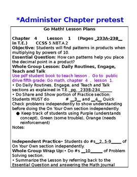 5th Grade Chapter 4 Go Math Lesson Plans