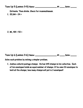 5th Grade Chapter 4 Math Tune Ups - McGraw Hill - Division with 2-digit Divisor