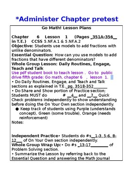 5th Grade Chapter 6 Go Math Lesson Plans