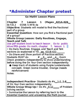 5th Grade Chapter 7 Go Math Lesson Plans