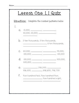 5th Grade Chapter One Quizzes - Whole Numbers