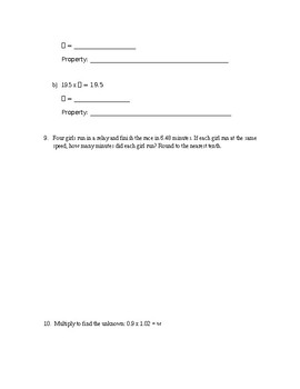 5th Grade Chapter Test Multiply and Divide Decimals