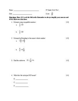 5th Grade Chapter Test Multiply and Divide Fractions
