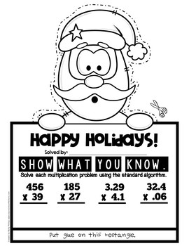 "5th Grade Christmas Math Review: ""Show What You Know"" Christmas Math Craftivity"