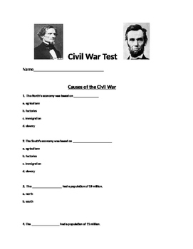 5th Grade Civil War Assessment