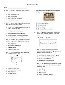 5th Grade Civil War Unit Test