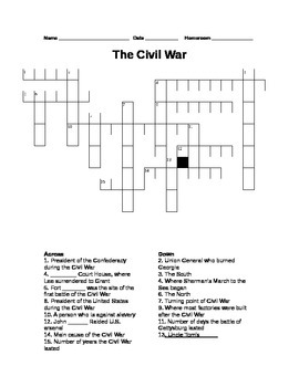 5th Grade Civil War Word Search
