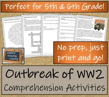 WWII: The Outbreak of War in Europe - 5th & 6th Grade Close Reading Activity