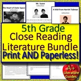 5th Grade Close Reading Distance Learning w/ Google Classroom Links (Literature)