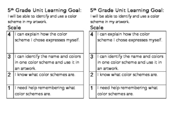 5th Grade Color Schemes Learning Goal and Scale