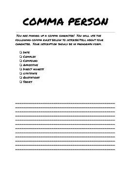 5th Grade Comma Review Character + Descriptive Writing