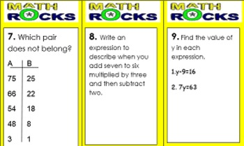5th Grade Algebra Unit, Handouts, Word Wall, Task Cards and Assessment