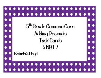5th Grade Common Core Adding Decimals Task Cards