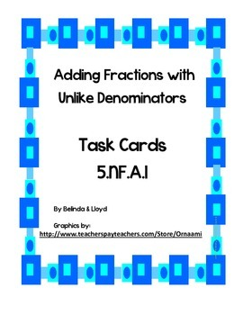 5th Grade Common Core Adding Fractions Task Cards
