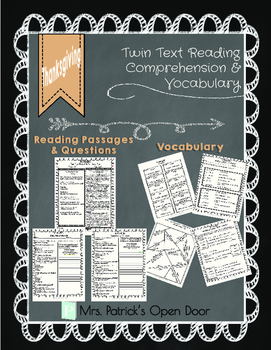Twin Text Reading Comprehension and Vocabulary-Thanksgiving