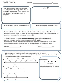 5th Grade Common Core Aligned Weekly Reviews