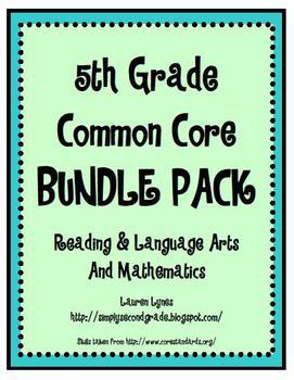 5th Grade Common Core BUNDLE {Reading & Language Arts; Mathematics}